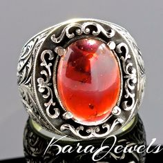 925 Sterling Silver Men's Ring with Rhodolite Garnet - January birthstone ring #KaraJewels #Filigree