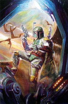 """""""Boba Fett"""" - Star Wars Empire 28 Cover by Tommy Lee Edwards Boba Fett Art, Star Wars Boba Fett, Jango Fett, Star Wars Comics, Bd Comics, Star Wars Books, Star Wars Art, Star Trek, Starwars"""