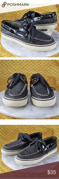 Sperry Top-Sider Black Glitter Boat Shoes 7M These adorable glittery black pair of Sperry boat shoes are in excellent pre-owned condition! 😍 Just some words in the insole rubbed away. Clean!   🌟🌟 If you appreciate old school quality - you're in the right place. We don't just sell items, we put time & work into them. We also ship FAST, within 1-2 business days at MOST! Thanks for visiting my Closet! 🌹🌹😊 Sperry Shoes
