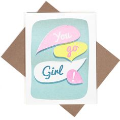 """You go girl! - Risograph printed with soy-based inks - A2 antique white note card with recycled kraft envelope - 5.5""""x4.25"""" - Inside is blank - Packaged in a clear cellophane sleeve *Please note that"""