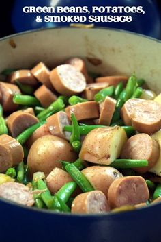 Hoosier Stew- Nothing tastes like summer quite like fresh green beans, red potatoes and smoked sausage that has simmered in caramelized onions. So easy. Sausage Potatoes Green Beans, Ham And Green Beans, Cooking Fresh Green Beans, Beans And Sausage, Crock Pot Potatoes, Sausage Meals, Roasted Potatoes, Vegetable Recipes, Meat Recipes