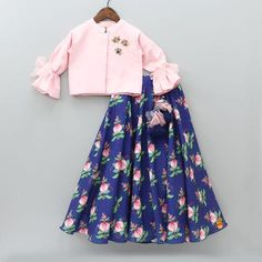 Pre Order: Pink Top With Printed Blue Lehenga Kids Party Wear Dresses, Mom And Baby Dresses, Kids Dress Wear, Dresses Kids Girl, Kids Indian Wear, Kids Ethnic Wear, Cotton Frocks For Kids, Frocks For Girls, Kids Frocks Design