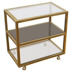 Modernist Brass and Three-Tier Smoked Glass Bar Cart 25 in.Hx25.5 in.Wx15.75 in.D $2,950