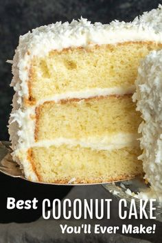 The Best Coconut Cake You'll Ever Make . This is the BEST Coconut Cake recipe you'll ever make. Classic coconut cake recipe uses fresh coconut and a secret Coconut Cake From Scratch, Sour Cream Coconut Cake, Coconut Pineapple Cake, Cake Recipes From Scratch, Easter Cake Coconut, Coconut Oil, Kokos Desserts, Desserts Ostern, Coconut Desserts
