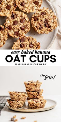 Easy Vegan Baked Oat Cups These simple baked oatmeal cups are inspired by banana bread! They're also a cinch to make with just 5 everyday ingredients. Enjoy these little treats for a quick breakfast, snack or healthy dessert. Vegan Baked Oatmeal, Baked Oatmeal Cups, Baked Oatmeal Recipes, Baked Oats, Baked Banana, Banana Bread, Chocolate Chip Granola Bars, Chocolate Oatmeal, Chocolate Chips
