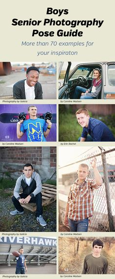 Senior Boys Photography Pose Guide - photo ideas and poses you can use for photographing senior guys. 70 different examples shown. by margie Senior Photography Poses, Senior Boy Poses, Senior Portrait Poses, Senior Guys, Photography Ideas, Guy Poses, Senior Year, Photography Hashtags, Sibling Poses
