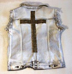 Spray colored and studded denim vest