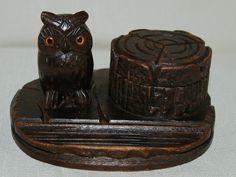 Black forest owl vintage antique carved carving inkwell ink well