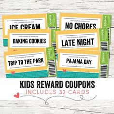 Kids Reward Coupons - Would make a great gift for kids this Christmas or Birthday! - www.etsy.com/shop/keylimedd