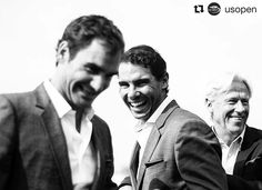 @usopen Pop quiz: How many Grand Slam titles are in this picture? #lavercup #federer #nadal #borg #popquiz #etennisleague