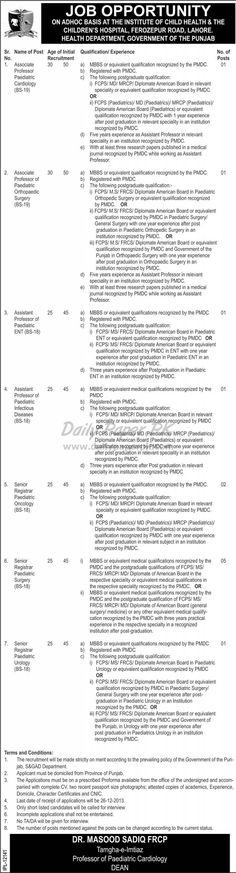 Jobs in Children's Hospital and Institute of Child Health Lahore For details and how to apply: http://www.dailypaperpk.com/jobs/201693/jobs-children-s-hospital-institute-child-health-lahore