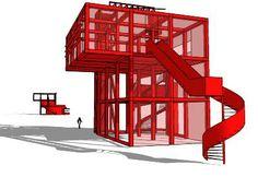 Bernard Tschumi Follies Parc de la Villette Paris France de mjc - Armazém 3D