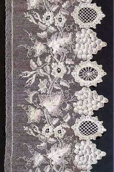 """Alençon lace or point d'Alençon is a needle lace that originated in Alençon, France. It is sometimes called the """"Queen of lace."""" Lace making began in Alençon during the century and the local. Needle Lace, Bobbin Lace, Lace Ribbon, Lace Fabric, Irish Crochet, Crochet Lace, Crochet Edgings, Crochet Motif, Crochet Shawl"""