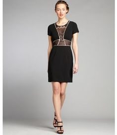 c0149689ca4 BCBGMAXAZRIA black and nude lace woven short sleeve  Libi  dress - ShopStyle  Evening