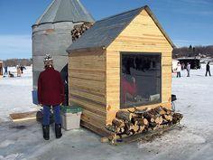 this ice shanty has everything they need Ice Fishing Shanty, Ice Shanty, Ice Fishing Huts, Fishing Shack, Fish Hut, Sauna Design, Ice Houses, Dark House, Ice Ice Baby
