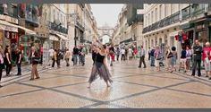 """Video """"Inspire Lisboa"""" com Bailarina a dançar nas ruas e praças."""