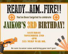 free nerf party printable template | INSTANT DOWNLOAD Printable Nerf Ins pired Birthday Party Invitation ...