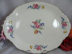 Mid Century Vintage 13 Rose Oval Serving by SecondWindShop, Found 2 at thrift store,