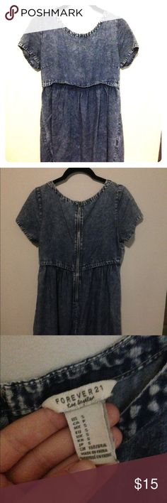 denim boxy shirt dress Super comfy faux denim shirt dress, babydoll fit and quite loose. Fair condition and great for casual wear Forever 21 Dresses Mini