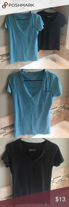 "T shirt bundle ""Boyfriend"" style with deep v and pocket detail.  Teal and black Mossimo Supply Co Tops Tees - Short Sleeve"