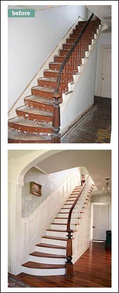 Treppenhaus neu streichen  Stiegenaufgang schleifen und Weiß streichen. White Staircase ...