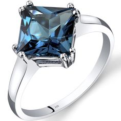 Oravo 14k White Gold 2 3/4ct TGW London Blue Topaz Princess-cut Solitaire Ring
