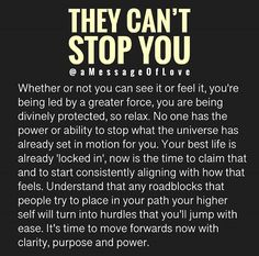 They Can't Stop YOU! Divine blessing from GOD! They can continue to think Bad things about you or jealousy, but it never stopped you before and it won't now. Spiritual Awakening, Spiritual Quotes, Wisdom Quotes, Quotes To Live By, Life Quotes, Positive Affirmations, Positive Quotes, Motivational Quotes, Inspirational Quotes