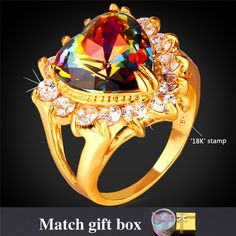 Engagement Ring Gift Box Women Fashion Jewelry Yellow Gold Plated Synthetic Mystic Cubic Zirconia Crystal Heart Ring R1184