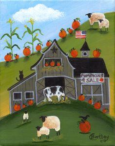 Pumpkin Barn Cow Sheep & Corn Folk Art Print