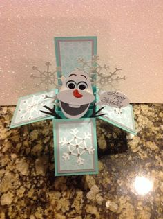 Olaf birthday card, box card by Delia Lively Retired dsp, and embosslits
