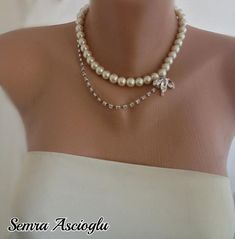 Bridal Jewelry, Ivory Glass Pearls and Rhinestone Bridal Necklace Brides Bridesmaids Gifts Maid of Honor Multi Strand Pearl Necklace, Pearl Necklace Wedding, White Pearl Necklace, Bridal Necklace, Pearl Necklaces, Handmade Wedding Jewellery, Wedding Jewelry Sets, Bridal Jewelry, Beaded Jewellery