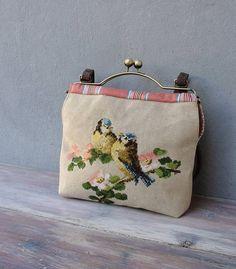 Love Birds Bag - Romantic Birds, Vintage Embroidery, Linen, Kiss-lock
