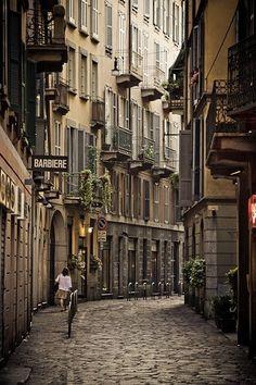Narrow Street, Milan, Italy