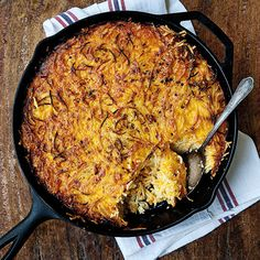 Caroline's Macaroni Pie. Cooked in a cast iron skillet with vermicelli instead of macaroni, Caroline's Macaroni Pie combines the lightness of a soufflé with the ease of a casserole. #southern #recipes #gardenandgun