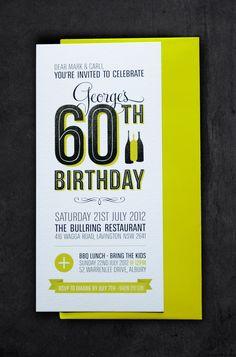 60th Birthday Invitations by Carli Foot, via Behance