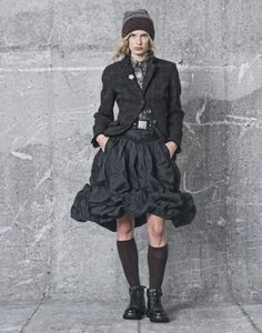 Pinstripe Taffeta hitch / bubble skirt by Claire Campbell for HIGH Clothing - Bohemian / Romantic Industrial outfit  AW15/16