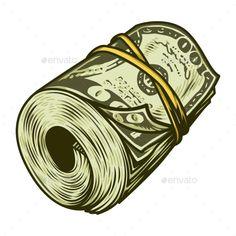 Buy Colorful Money Roll of Dollars by imogi on GraphicRiver. Colorful money roll of dollars concept in vintage style isolated vector illustration Arte Dope, Dope Art, Graffiti Cartoons, Graffiti Art, Tattoo Design Drawings, Art Drawings, Dollar Tattoo, Dope Kunst, Arte Lowrider