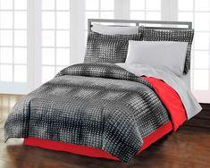 Teen Guys Bedding | Black & Red Teen Boy Bedding Twin XL or Full Queen Comforter Set