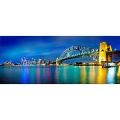 Sydney Harbour Bridge and skylines at night Sydney New South Wales Australia Canvas Art - Panoramic Images (6 x 15)