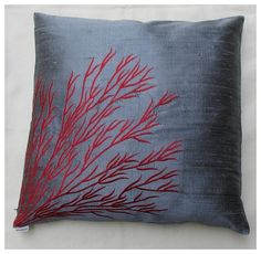 Gray silk  throw pillow cover w/ coral by Comfyheavenpillows, $26.50