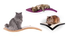 These elegant modern cat perches are from Lazy Cat Furniture in Poland. Beautifully handcrafted with lots of finish options, these are very attractive and functional. The line includes a wave-shaped perch, and you can even choose the direction of the wave, right or left. The wave perch comes with either carpet on top or a thick cushion that…