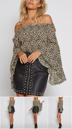 Leopard Print Off-The-Shoulder Bell Sleeves Top