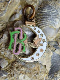 Enamel and Gold Filled Degree of Rebekah Pendant or Charm, Crescent Moon, Bird and Stars With Enamel on Face, Chased Details on Back, Sweet by postGingerbread on Etsy