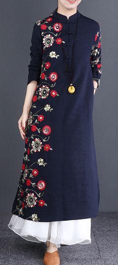 5e16c742dc632 Beautiful navy linen dresses Organic Neckline stand collar embroidery long  Dress navydress linendress
