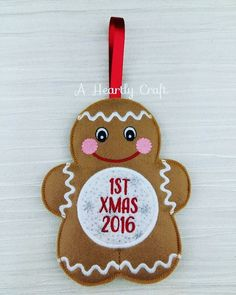 1st Christmas  Babys 1st Christmas  Babys First Christmas  Gingerbread Man  Personalized Christmas Ornament Decoration