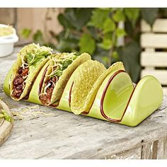 Ceramic Taco Holder in outdoor serving dishes at Lakeland