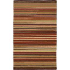 @Overstock - This striped rug is hand-loomed with 100-percent wool. The looped texture is accentuated with gold, orange, brown, pumpkin and lavendar hues.http://www.overstock.com/Home-Garden/Hand-loomed-Striped-Burgundy-Wool-Rug-5-X-8/5651834/product.html?CID=214117 $155.99