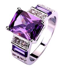 Psiroy Women's Gorgeous 12mm*10mm Emerald Cut Amethyst 925 Sterling Silver Filled Ring - CHECK IT OUT @ http://www.finejewelry4u.com/jew/102677/150720