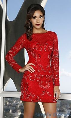 Short Embellished Dress with Long Sleeves by Shail K at SimplyDresses.com
