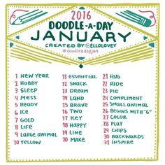 """""""The Doodle a Day January list is here! - Jan challenge                                                                                                                                                                                 More"""